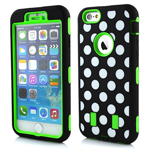 Meaci® Cellphone Case For Iphone 6 4.7 Inch Case 3 In 1 Combo Hybrid High Impact Body Armorbox Hard Pc&Silicone Protective Bumper Case With Polka Dots Luxury Print (Green Polka Dots)