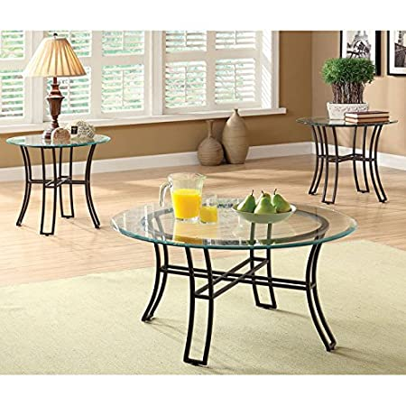 Malteeza 3-Piece Metal and Glass Accent Table Set