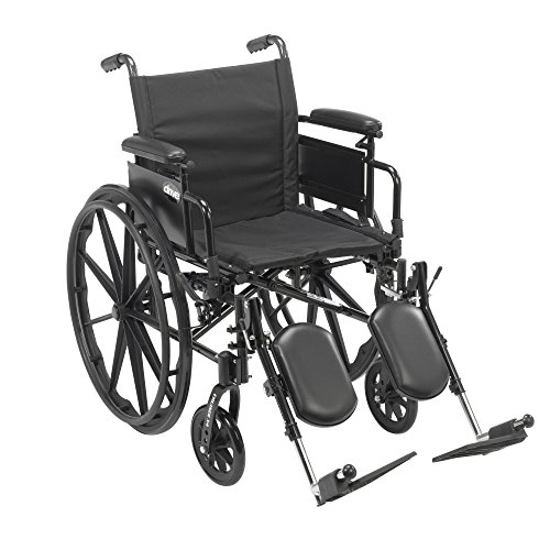 Drive Medical Cruiser X4 Lightweight Dual Axle Wheelchair with Adjustable Desk Arms Seat with Elevating Leg Rests, Silver Vein, 16 Inch (Carbon Wheelchair compare prices)