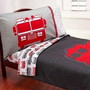 Amazon.com : Carter's 4 Piece Toddler Bed Set, Fire Truck ...