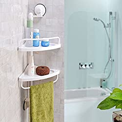 HOME CUBE TM Shower Shelf Caddy Bath Corner Storage Organizer Sucker Holder Plastic Kitchen Suction Cup 2 Tier Two Layer Wall Mounted Corner Shelf Rack