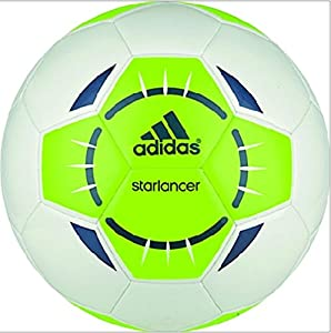 adidas Performance Starlancer IV Soccer Ball, White/Solar Green/Rich Blue, 3