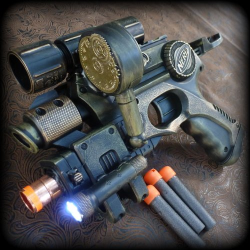 Steampunk gun Victorian Nerf N-Strike Zombie Fall Out Soft Dart toy Hand Painted