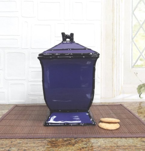 Tuscany Hand Painted Ceramic Purple Cookie Jar, 86076 By Ack back-201072