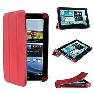 Swees® UltraSlim Case Tasche Hülle Lederhülle Schutzhülle Leder Case Cover mit Ständer für Samsung Galaxy Tab 2 P3100/ P3110 (7 Zoll) Tablet , enthält Displayschutzfolie & Stylus- Rot