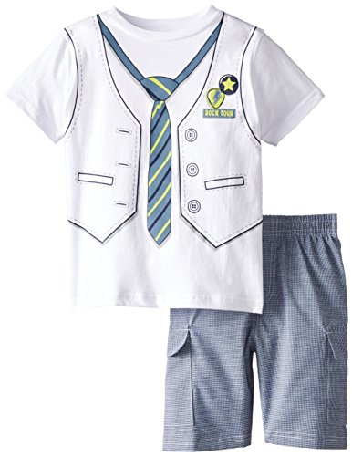 Kids Headquarters Little Boys' White Tee with Vest and Tie Print Shorts 4-7