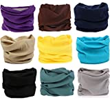 Kingree 9PCS Outdoor Multifunctional Sports Magic Scarf, High Elastic Magic Headband with UV Resistance, Headscarves, Headbands,(9 Solid Color (A))