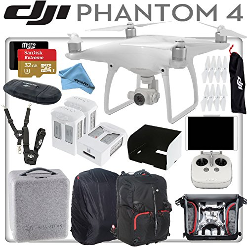 DJI Phantom 4 Quadcopter w/ eDigitalUSA Professional Bundle: Includes 3 Intelligent Flight Batteries, SanDisk 32GB Extreme MicroSD Card, Monitor Hood, DJI/Manfrotto Backpack for Phantom 4 and more...