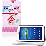 tinxi® Samsung Galaxy Tab 3 8.0 T310 T311 8 inch (20.32cm) PU Leather Flip PC Tablet Case Notebook Cover Sleeve With Stand Function [ cute owl family ] (not suitable for Samsung Galaxy Tab 4 8.0 T330)