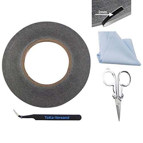 2mm Double Sided Tape Tape Double Sided 50m Long for Repairing Mobile Phone Smart Phones & Tablets Including 4Piece Professional Tool for the Touch Screen Digitizer LCD Display Glass-Toka Versand 10