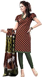 SHREENATHJI ENTERPRISE Women's Cotton Unstitched Dress Material (Brown)