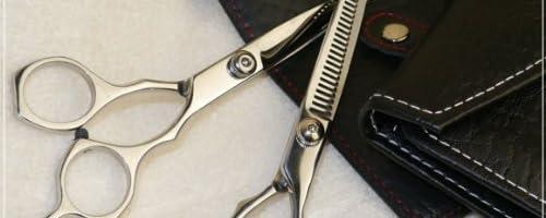 理美容 プロ仕様 高級 散髪 ハサミ 2本セット HAJIME (美容ハサミ、スキハサミ)/ コーム・レッドステッチ シザーケース 付き