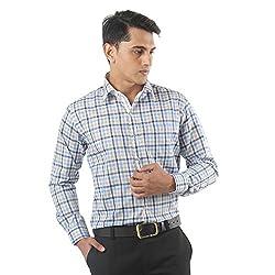 ZIDO Blue Blended Men's Checks Shirts PCFLX1320_Blue_40