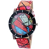 Super Drool Red Abstract Wrist Watch