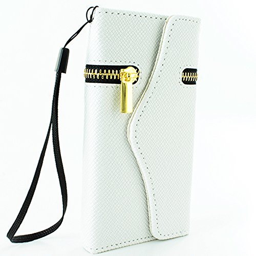 Mylife (Tm) Whip Cream White + Gold Zipper {Classy Design} Faux Leather (Card, Cash And Id Holder + Magnetic Closing + Hand Strap) Slim Wallet For The Iphone 5C Smartphone By Apple (External Textured Synthetic Leather With Magnetic Clip + Internal Secure front-301576