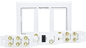 iMBAPrice Premium 3-Gang Home Theater 7.1 Surround Sound Distribution Wall Plate for 7 Speakers, 1 RCA Jack for Subwoofer & 1 HDMI Port with Ethernet + Mounting Bracket (Color: Keystone White, Tamaño: Built-in Surround + RCA/HDMI Port)