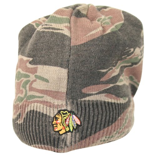 Reebok NHL Camo Bill Front Knit Hat / Beanie (Chicago Blackhawks) at Amazon.com