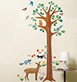 Wallies Peel and Stick Wall Play Mural, Woodland Growth Chart