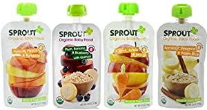 Sprout Organic Baby Food Pouch Variety Pack: (1) Sprout Organic Apricot, Peach & Pumpkin, (1) Sprout Organic Plum, Banana & Blueberry With Quinoa, (1) Sprout Organic Carrot, Apple & Mango, and (1) Sprout Organic Banana Brown Rice With Cinnamon, 4.0 Oz. Ea. (4 Pouches Total)