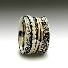 buy Floral Silver And Gold Spinners Band Woodland Band Boho Two Tone Ring Rose And Yellow Gold Meditation Wedding Band For Her And For Him - Shine R1209H