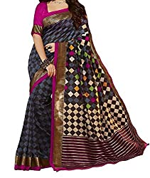 RGR Enterprice Woman's Bhagalpuri Designer Saree (Rashmi Print_Multi-Coloured_Free Size)