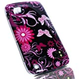 JJOnline Hard Fitted Case Cover For HTC Sensation G14- Black Pink Butterfly Flower Print Oriental Series