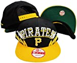 Pittsburgh Pirates Black Yellow Two Tone Plastic Snapback Adjustable Plastic Snap... by New Era