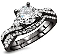 1.20ct Round Diamond Engagement Ring Wedding Set 18k Black Gold With A 1/2ct Center Diamond And…
