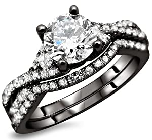 1.20ct Round Diamond Engagement Ring Wedding Set 18k Black Gold With A 1/2ct Center Diamond And .70ct of Surrounding Diamonds