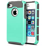 ULAK Rugged Shockproof Dual Layer Hybrid Slim Hard Case for iPhone 4S & iPhone 4 with Hard PC Cover and Soft Inner TPU (Light Blue/Gray)