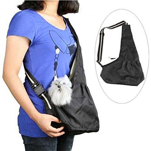 Inviktus Black Oxford Cloth Sling Pet Dog Cat Carrier Bag (Medium)