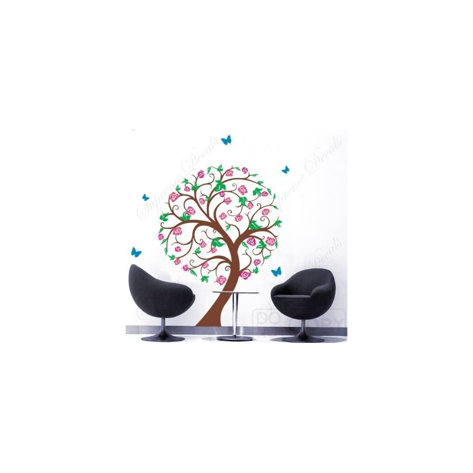 US Made   Custom Color   PopDecals   Vinyl Wall Sticker Decal Art NEW DESIGN  Rose Tree with flying butterflies   65inch High