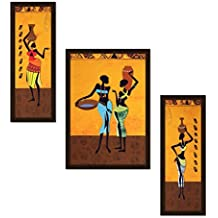 Avercart Colorful African American Woman Modern Abstract Art For Home Decoration Set Of 3 Poster 12x18 Inch With...