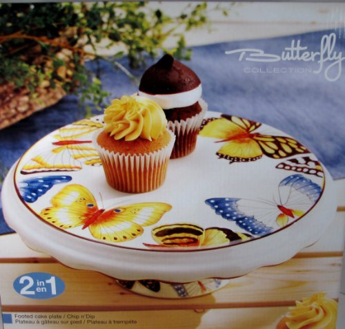Cake Stand Cupcake Plate W/ Pedestal and Chip and Dip Server Round-- Two in One Piece Butterfly Collection