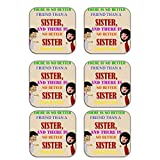 MeSleep Brother Sister Wooden Coaster-Set Of 6