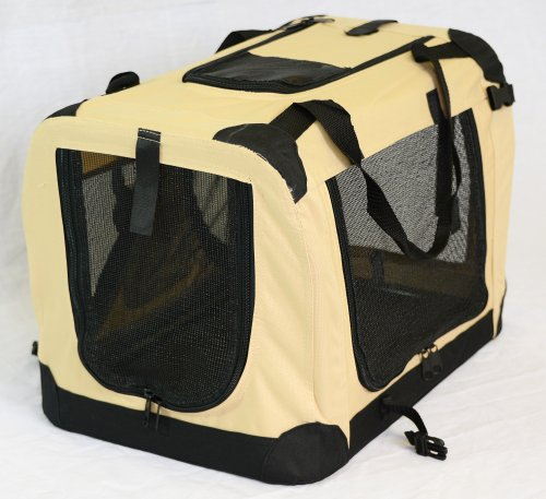 Portable Soft Pet Carrier or Crate or Kennel for Dog, Cat, or other small pets. Great for Travel, Indoor, and Outdoor (Beige, Large: 28″x20″x20″)