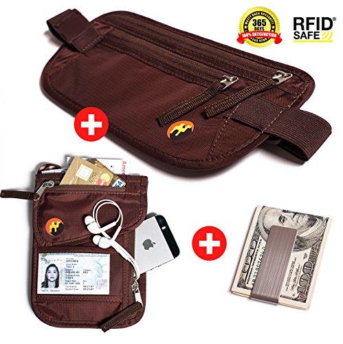 RFID Money Belt & RFID Neck Pouch with Premium Stainless Steel Money Clip. Hidden undercover Travel wallet & Passport holder for Men & Women