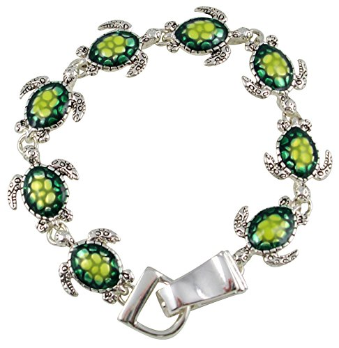 Silver Tone Magnetic Clasp Tropical Ocean Theme Green Sea Turtle Charm Bracelet for Women and Teens