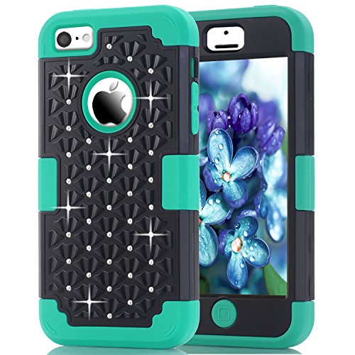 iPhone 5C Case, NOKEA Diamond Hybrid Heavy Duty Shockproof Full-Body Protective Case Ultra Slim Bumper Cover 3 in 1 Shield Soft TPU Hard PC Dual Layer Impact Protection (Black Teal) (Iphone 4s Cases Sewing Machine compare prices)