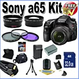 Sony A65 24.3 MP Translucent Mirror Digital SLR With 18-55mm Lens + 32GB SDHC Memory + Extended Life Battery + Ac/Dc Rapid Charger + USB Card Reader + Memory Card Wallet + Deluxe Case w/Strap + Mini HDMI to HDMI Cable + 3 piece 55mm professional filter kit + Super Wide Angle Lens + Telephoto Lens + Accessory Saver Bundle!