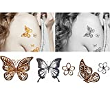 4 Sheets Waterproof Temporary Tattoos Non-Tox Body Art Tattoo Sticker, Butterfly