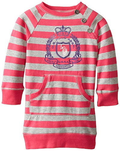 U.S. Polo Assn. Little Girls' French Terry Striped Raglan Sleeve Dress With Embroidered Horse Logo, Berry Bug, 3T