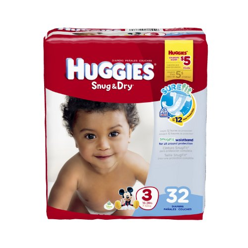 Huggies Snug & Dry Diapers, Size 3, 32 Count