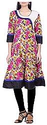 BleuIndus Women's Cotton Straight Kurta (KRT-358_XL, Multi-Coloured, XL)