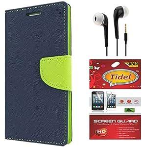 Tidel Premium Table Talk Fancy Diary Wallet Flip Cover Case for CoolPad Dazen1 (Blue) With Tidel Screen Guard & 3.5mm Handsfree Earphone