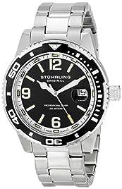 Stuhrling Original Men's 415.01 Aquadiver Regatta Analog Display Swiss Quartz Silver Watch