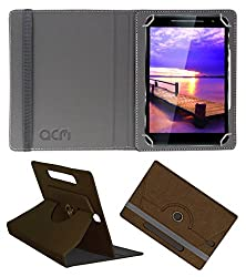 Acm Designer Rotating Leather Flip Case For Vizio Vz-K02 Tablet Cover Stand Brown