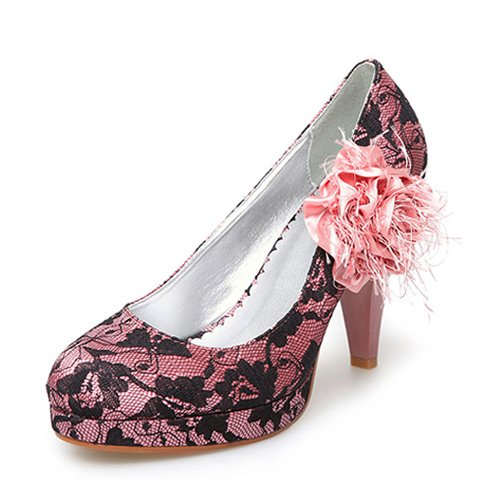 Women's Cloth/ Lace Upper Chunky Heel Pumps With Stitching Lace/ Satin Flower Wedding Bridal Shoes (Size: 6 B(M) US/Pink)