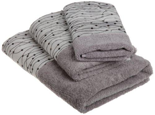 3 piece towel sets popular bath corbel 3 piece towel set for Black and silver bathroom sets
