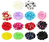 """28pc (14 Pairs) 2.25"""" DIY Shabby Chiffon Fabric Hair Flowers, Color May Vary. Toss in the Dryer for 2 Minutes to Fluff Up"""